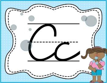 Cursive Letter Posters - Bubble Theme