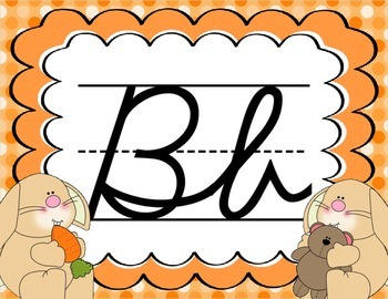 Cursive Letter Posters - Bunny Theme