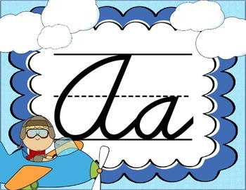 Cursive Letter Posters - Airplane Theme