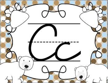 Cursive Letter Posters - Bear Theme