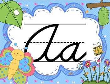 Cursive Letter Posters - Butterfly Theme