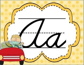 Cursive Letter Posters - Car Theme