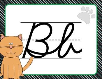 Cursive Letter Posters - Cat Theme