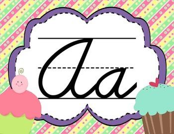 Cursive Letter Posters - Cupcake Theme