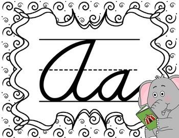 Cursive Letter Posters - Elephant Theme