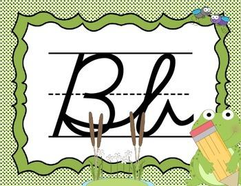 Cursive Letter Posters - Frog Theme
