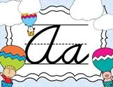 Cursive Letter Posters - Hot Air Balloon Theme