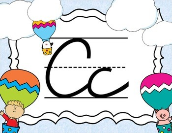 Cursive Letter Posters - Hot Air Balloon Theme