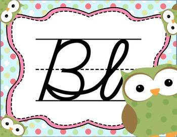 Cursive Letter Posters - Owl Theme
