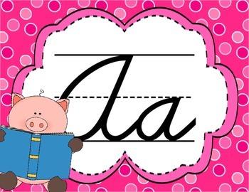 Cursive Letter Posters - Pig Theme