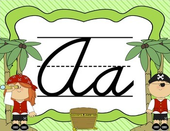 Cursive Letter Posters - Pirate Theme