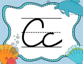 Cursive Letter Posters - Sea Life Theme