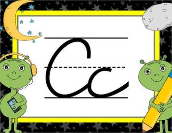 Cursive Letter Posters - Space Theme