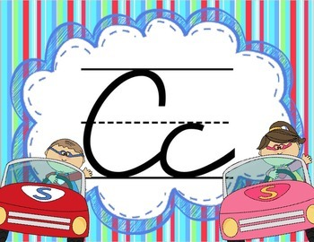Cursive Letter Posters - Superhero Theme