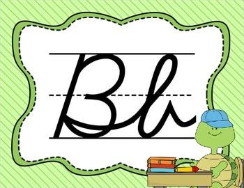 Cursive Letter Posters - Turtle Theme