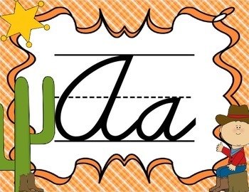 Cursive Letter Posters - Western Theme