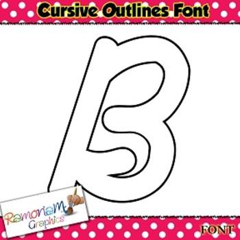 Cursive Letters Outline Font with transparent Centers