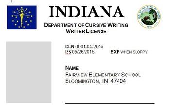 Cursive License - Indiana