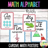 Cursive Math Alphabet- Red & Blue