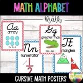 Cursive Math Alphabet- Red & Blue