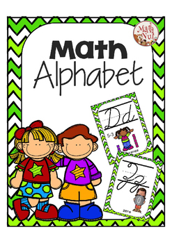Cursive Alphabet Posters Math: Green Chevron
