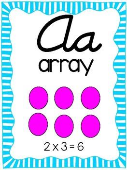Cursive Math Alphabet- Brights