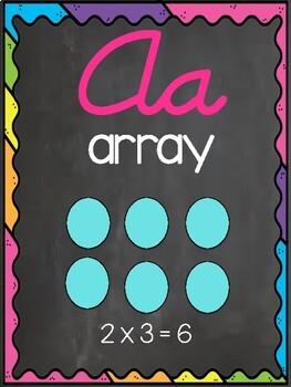 Cursive Math Alphabet- Chalkboard & Brights