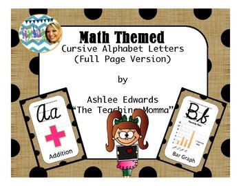 Cursive Math Alphabet (Full Page Version)