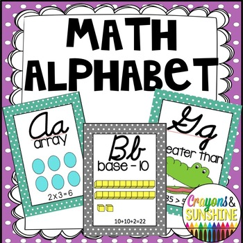 Cursive Math Alphabet- Teal & Grey Polka Dot
