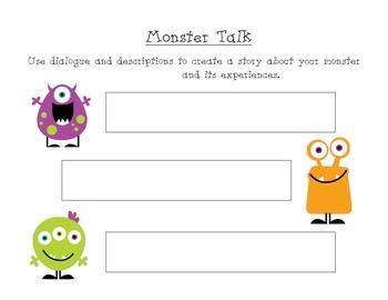 Cursive Monsters {Handwriting, Craftivity, Adjectives, & Narrative Writing}