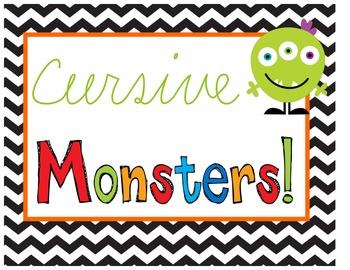 Cursive Monsters {Handwriting, Craftivity, Adjectives, & N