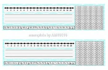 Cursive Name Plate with Hundreds Chart and Number Line