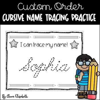 Cursive Name Writing Practice Custom Order