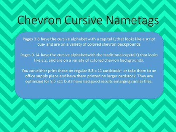 Cursive Nametags with number line and 120 chart- chevron style