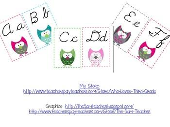 Cursive Owl Themed Alphabet