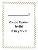 Cursive Packet letters n m y x v z