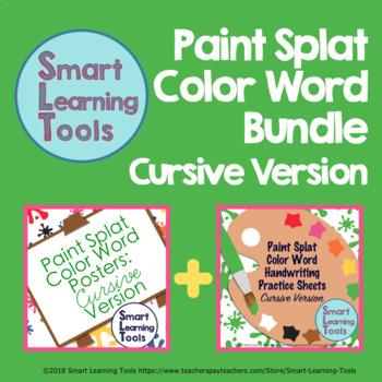 Cursive Paint Splat Color Word Bundle