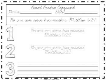 Cursive Pencil Practice Scripture Pack