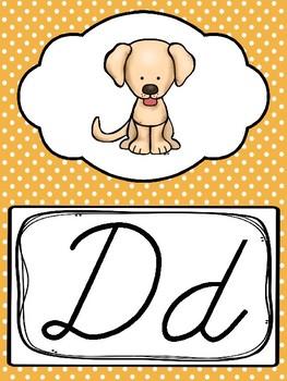 Cursive Polka Dots Alphabet Posters. Preschool-3rd Grade
