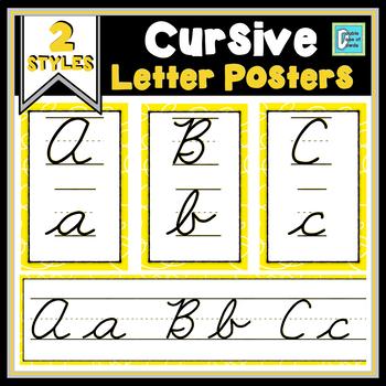 Cursive Posters - Yellow Swirls