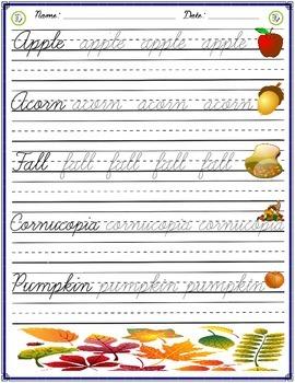 Cursive Practice - Autumn
