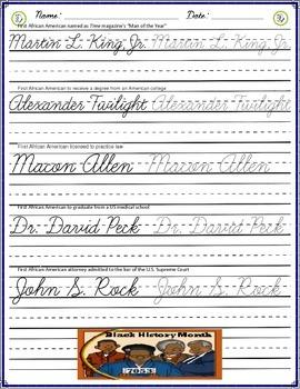 Cursive Practice - Black History Month