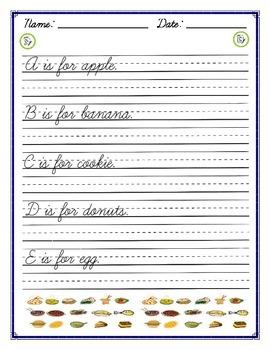 Cursive Practice - Food