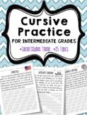 Cursive Practice (For Intermediate Grades) ~Social Studies Theme