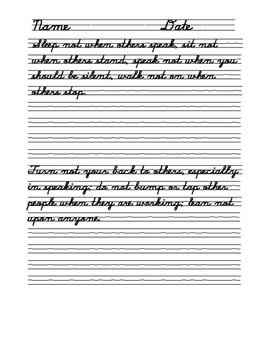 Cursive   Copy Practice-George Washington's Book of Civilties