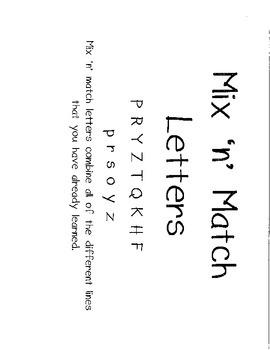 Cursive Practice- Mix and Match Letters