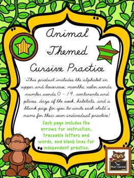 Cursive Practice Pages and/or Book with an Animal Theme!