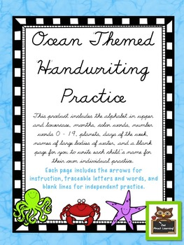 Cursive Practice Pages and/or Book with an Ocean Theme!