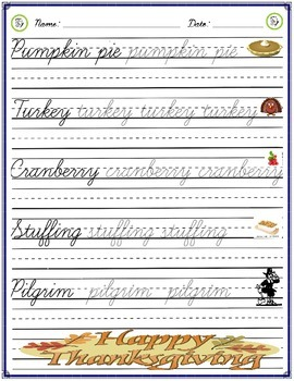 Cursive Practice - Thanksgiving