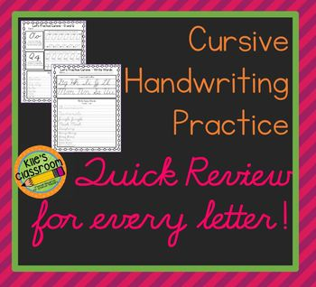 Cursive Practice and  Quick Review  - Relearn and Improve Your Cursive Writing